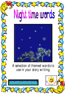 Night Time Words Card Template Set