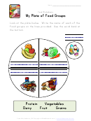 My Plate Of Food Groups Worksheet Template