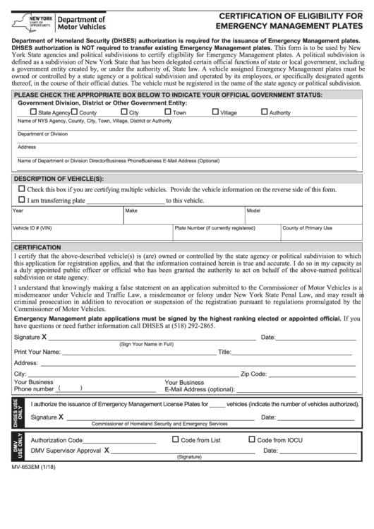 Form Mv-653em - Certification Of Eligibility For Emergency Management Plates