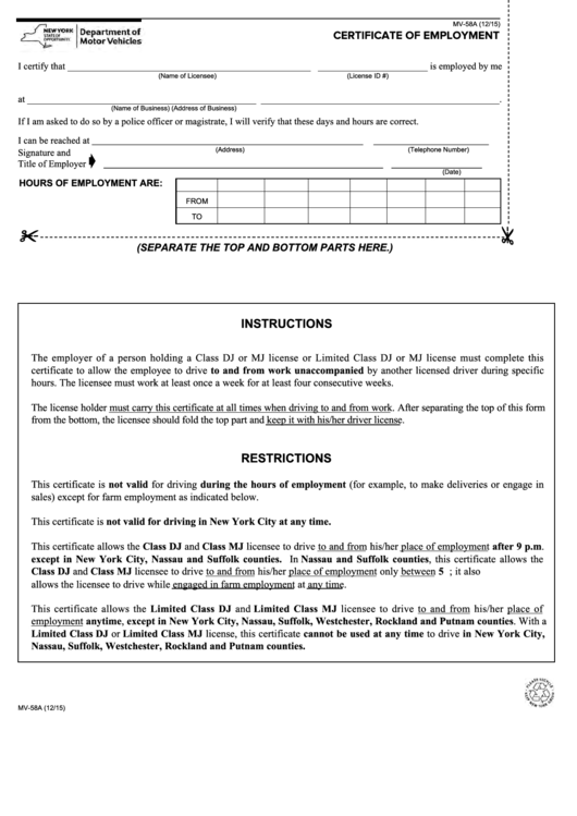 Form Mv-58a - Certificate Of Employment Printable pdf