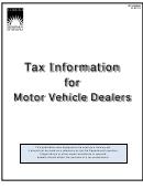Form Gt-400400 - Tax Information For Motor Vehicle Dealers Booklet