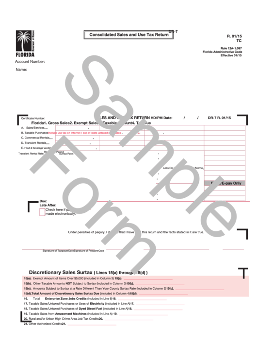 Form Dr-7 Draft - Consolidated Sales And Use Tax Return Printable pdf