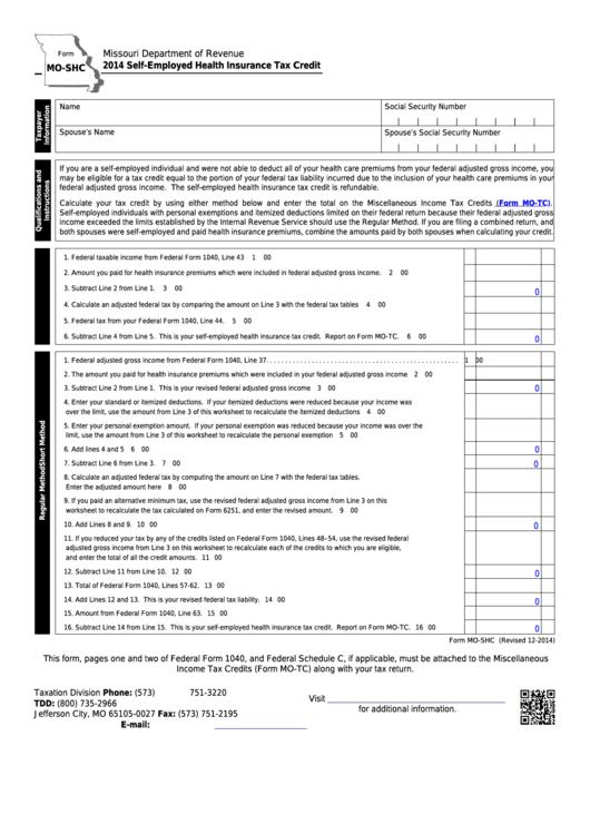 Fillable Form Mo-Shc - Self-Employed Health Insurance Tax ...