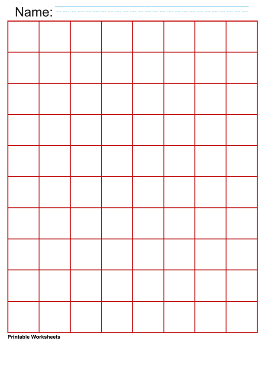 1 Inch Red Large Graph Paper Printable pdf
