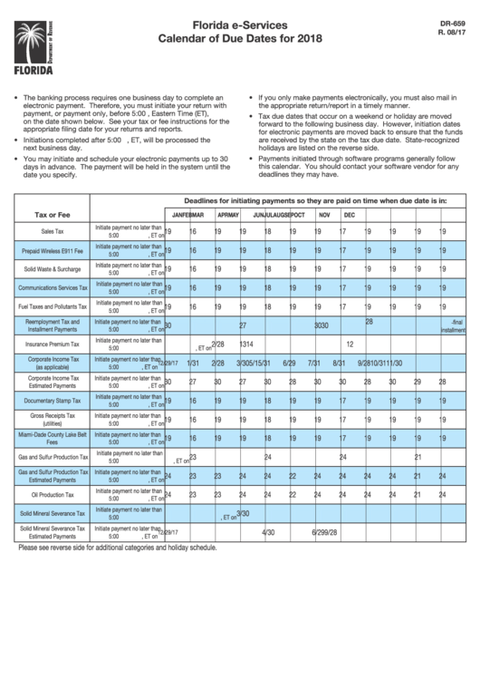 Form Dr-659 - Florida E-Services Calendar Of Due Dates For ...
