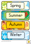 Four Seasons Word Cards Template - Regular, With Vector Illustrations
