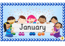 Months Word Cards Template - Regular, With Picture Of Happy Children Holding Poster On Blue Background