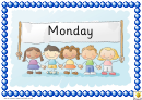 Months Word Cards Template - Regular, With Picture Of Happy Hand-drawn Children Holding Banner