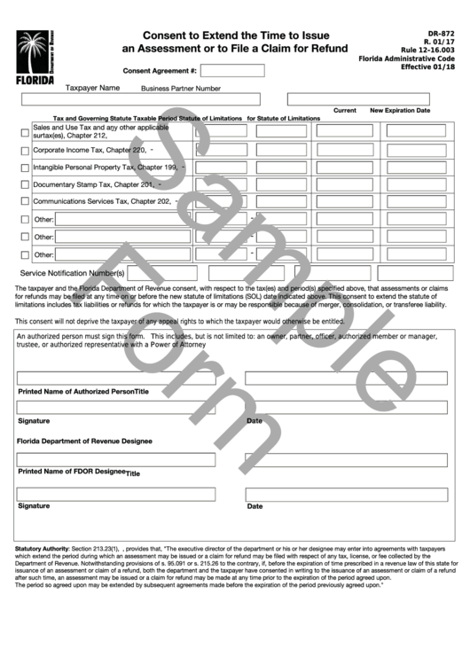 Form Dr-872 Draft - Consent To Extend The Time To Issue An Assessment Or To File A Claim For Refund Printable pdf
