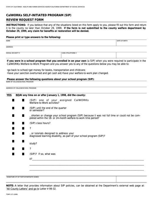 Fillable Form Temp 2171 - Calworks Self-Initiated Program (Sip) Review Request Form Printable pdf