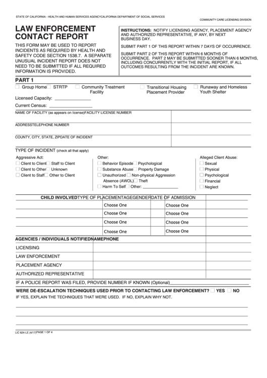 Fillable Form Lic 624-Le - Law Enforcement Contact Report Printable pdf