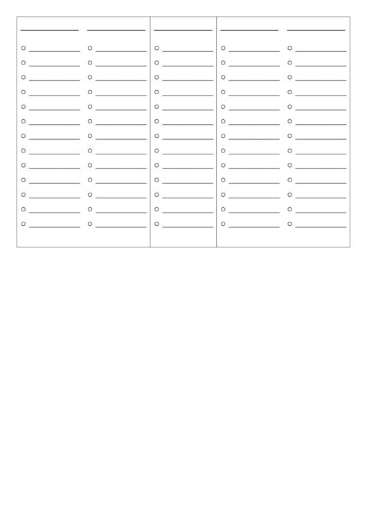 Blank Agenda Sheet