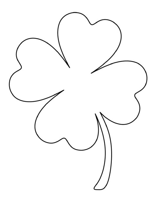 Large Four Leaf Clover Pattern Template printable pdf download