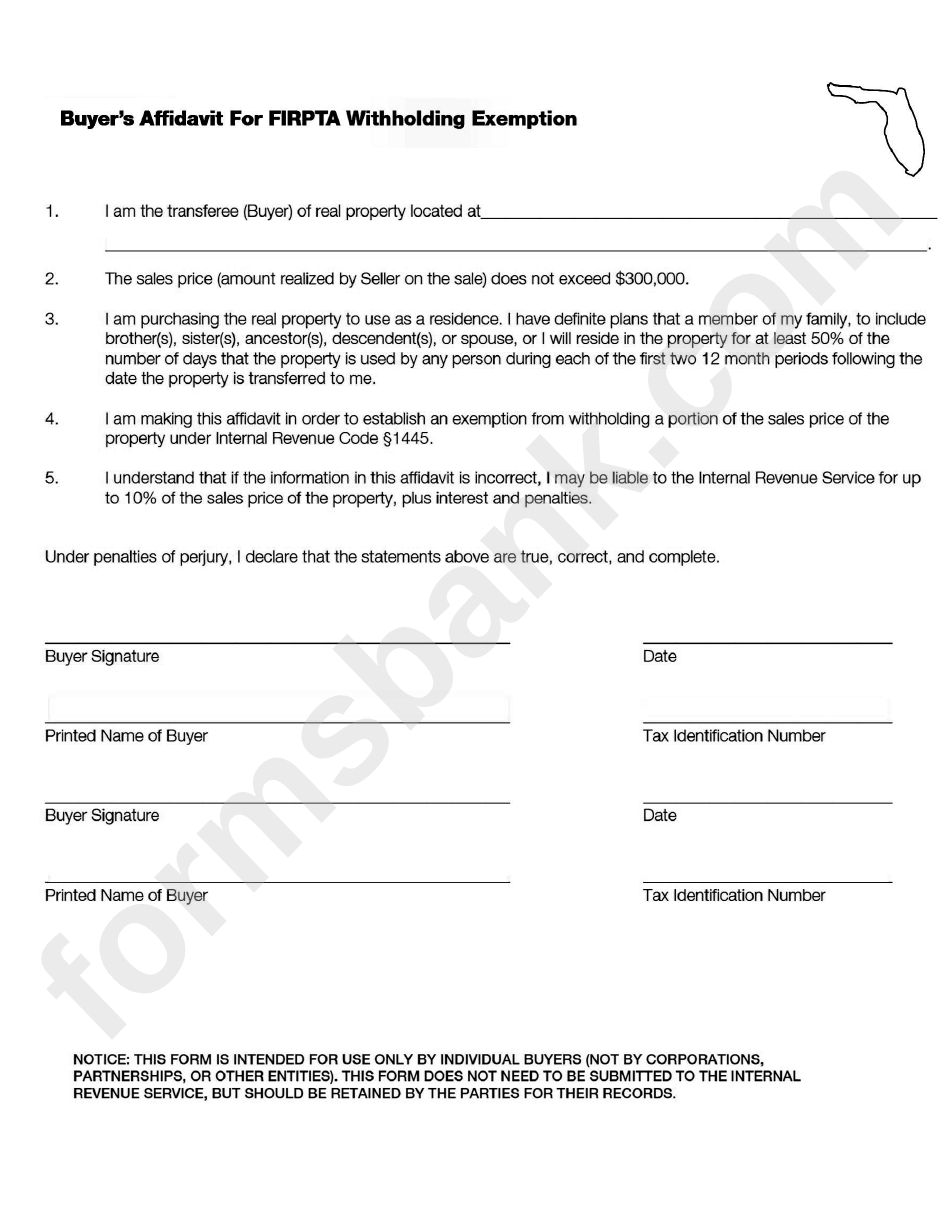 Buyer\'S Affidavit For Firpta Withholding Exemption - Irs Form ...