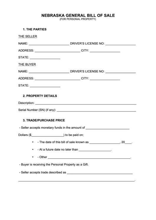 Fillable Nebraska General Bill Of Sale Template Printable Pdf Download