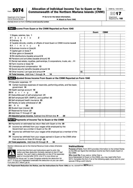 Fillable Form 5074 - Allocation Of Individual Income Tax To Guam Or The Commonwealth Of The Northern Mariana Islands (Cnmi) - 2017 Printable pdf