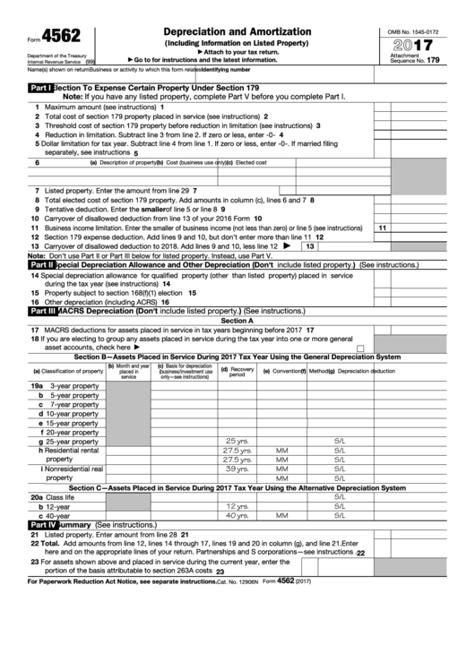 Fillable Form 4562 Depreciation And Amortization 2017 Printable Pdf Download