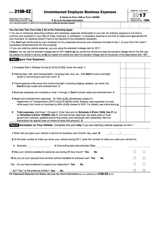 Top 10 Form 2106 Ez Templates Free To Download In Pdf Format