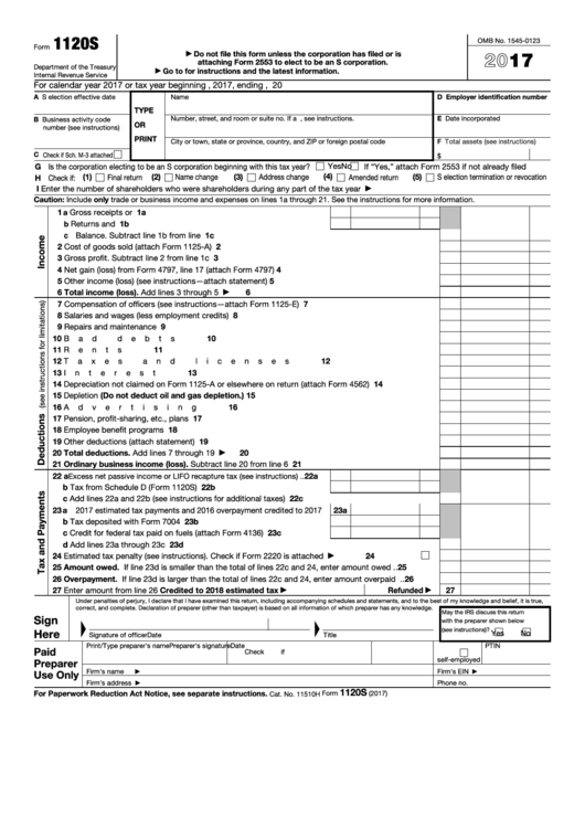 Fillable Irs Form 1120s Printable Blank Pdf And Instructions