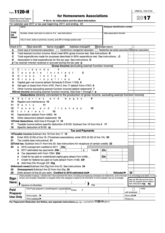 Tax Return 2017 Instructions
