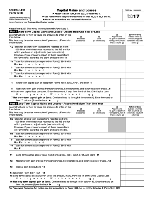 Fillable Schedule D (Form 1041) - Capital Gains And Losses