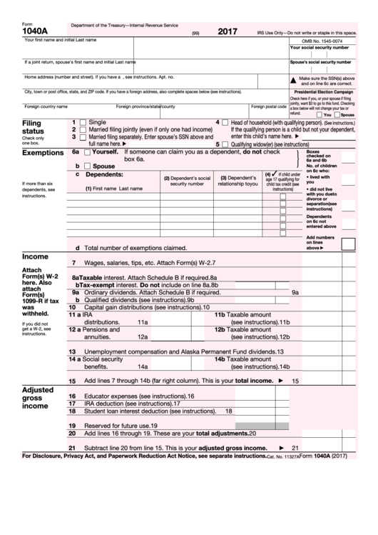 Top 19 Form 1040a Templates Free To Download In Pdf Format