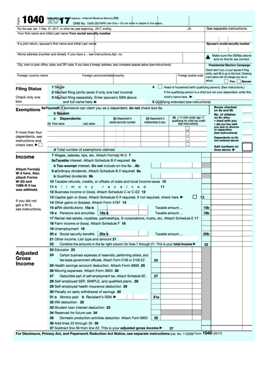 Form 1040 - U.s. Individual Income Tax Return - 2017