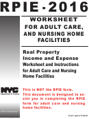 Form Rpie-2016 - Real Property Income And Expense Worksheet And Instructions For Adult Care And Nursing Home Facilities