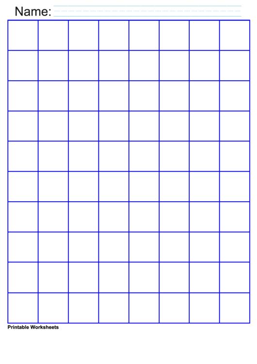 1 Inch Deep Blue Graph Paper Printable pdf