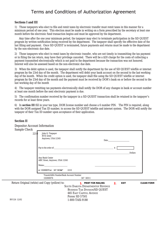 Form Rv126 - Terms And Conditions Of Authorization Agreement Printable pdf