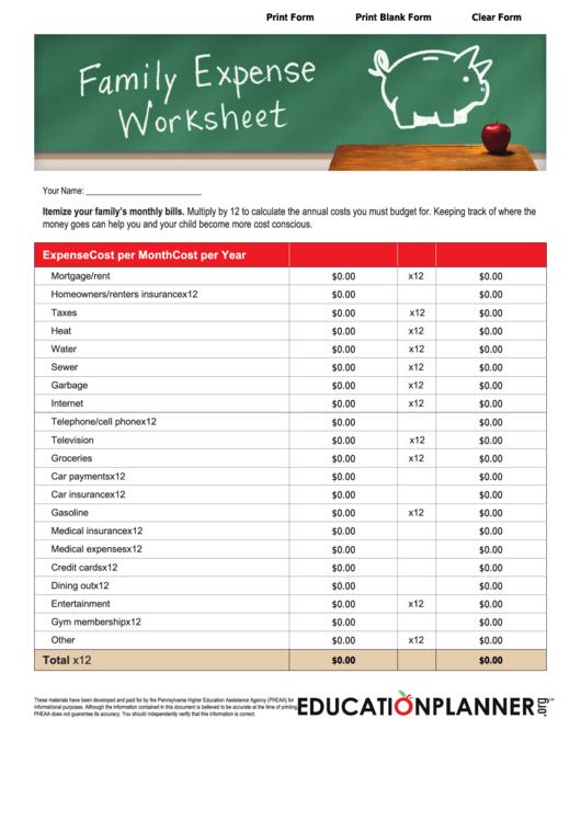 Family Expense Spreadsheet