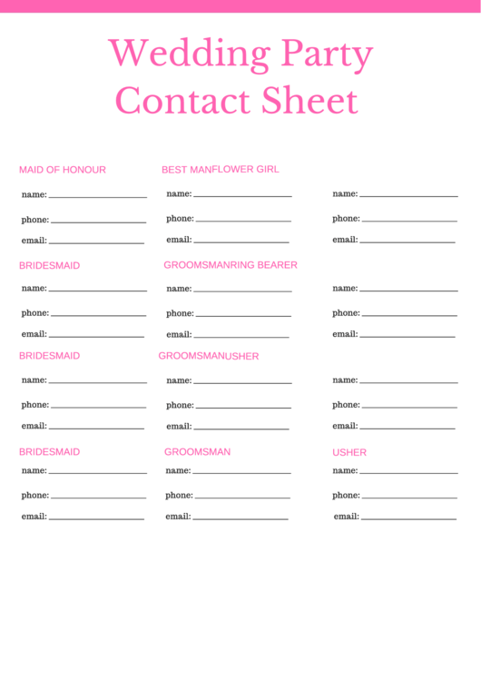 wedding party contact sheet printable pdf download