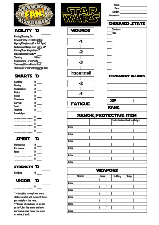Star Wars Rpg Character Sheet