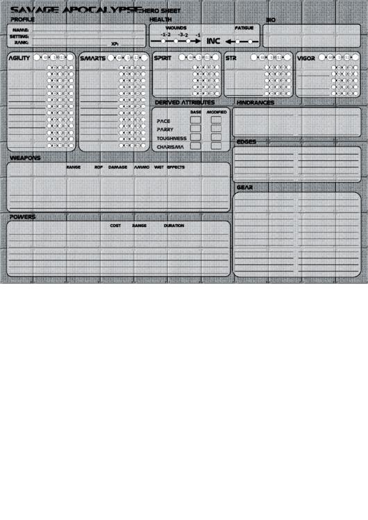 Savage Apocalypse Character Sheet