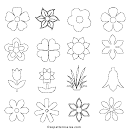 Flower Silhouette Vector Icons And Outline Templates
