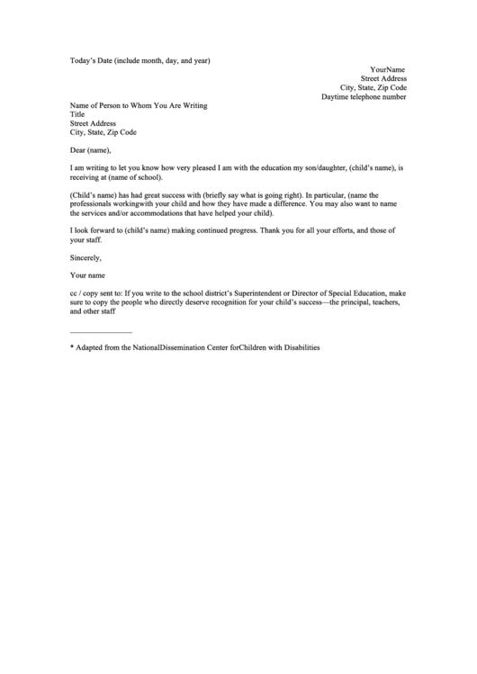Thank You Letter Teacher