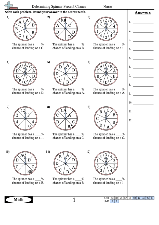 Determining Spinner Percent Chance Worksheet Template With