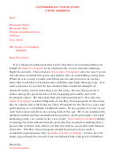 Letter Of Recommendation For Award Nominee Template