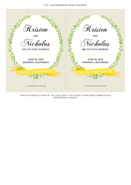 Fillable 5x7 Watercolor Save The Date Wedding Invitation Templates Printable pdf
