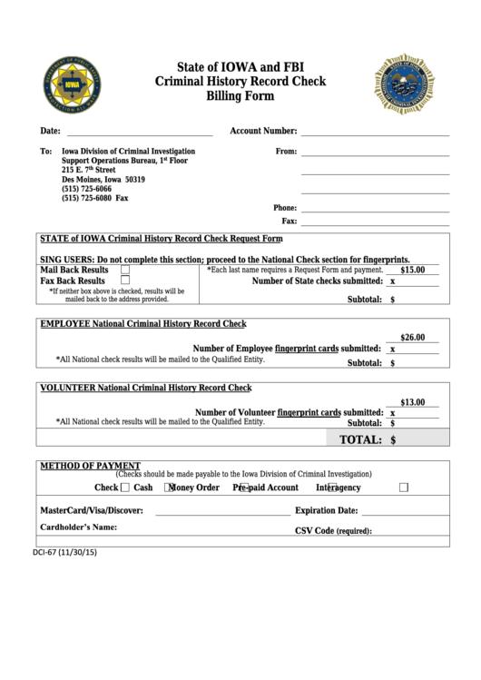 Form Dci-67 - Criminal History Record Check Billing Form - Iowa Division Of Criminal Investigation Printable pdf