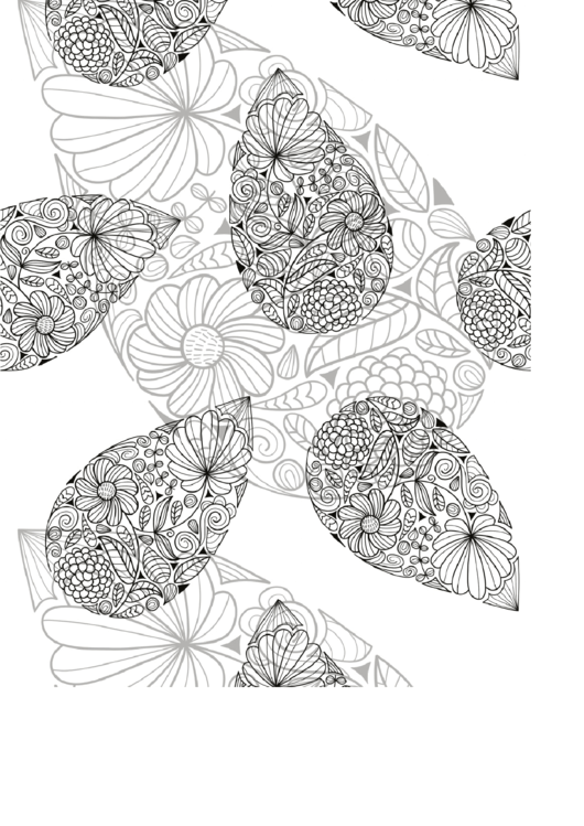 Leaf And Flowers Abstract Coloring Sheet