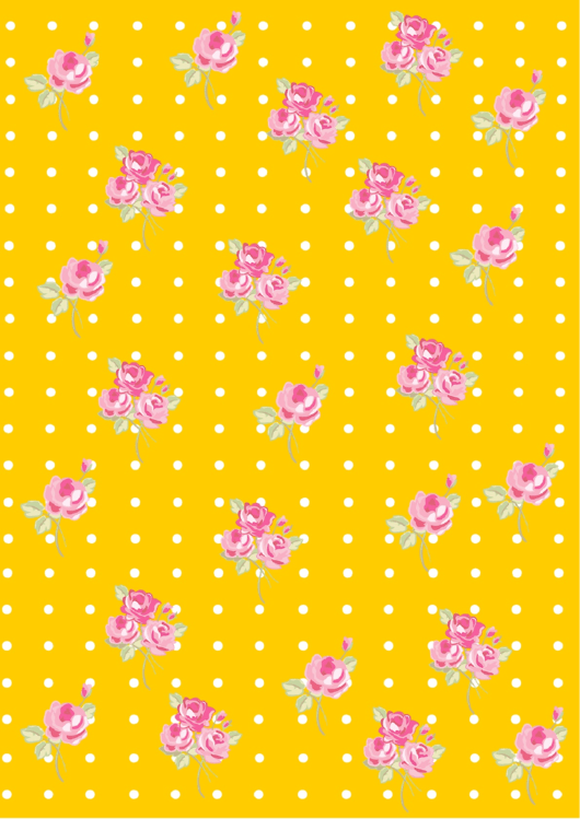 Flowers On Yellow Dotted Background Template