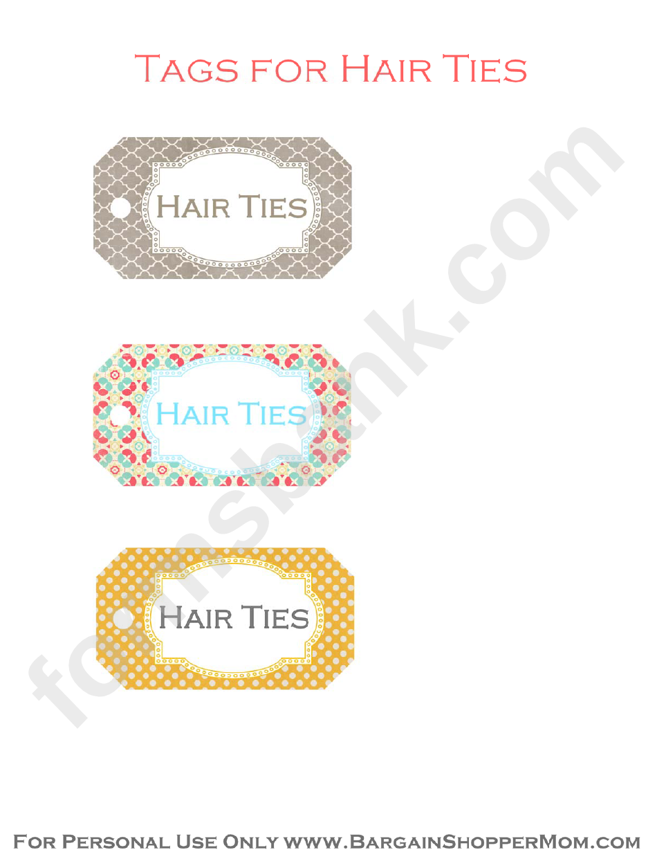 Hair Ties Tags Template - Multicolor With Ornament