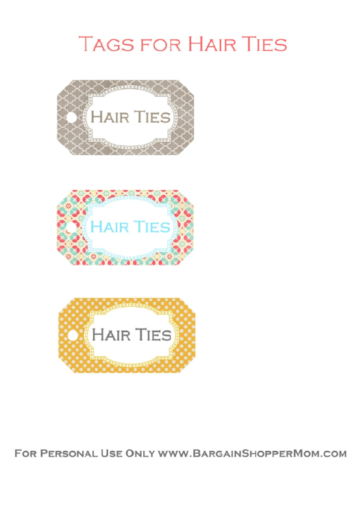 Hair Ties Tags Template - Multicolor With Ornament Printable pdf