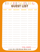Thanksgiving Guest List Template