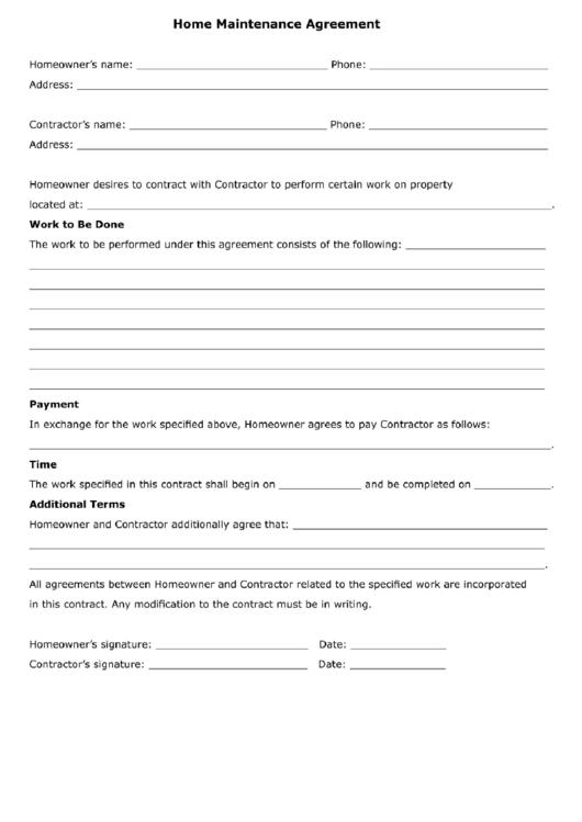 Home Maintenance Agreement