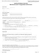 Form Dhcs - California Children's Services Maintenance And/or Transportation Authorization