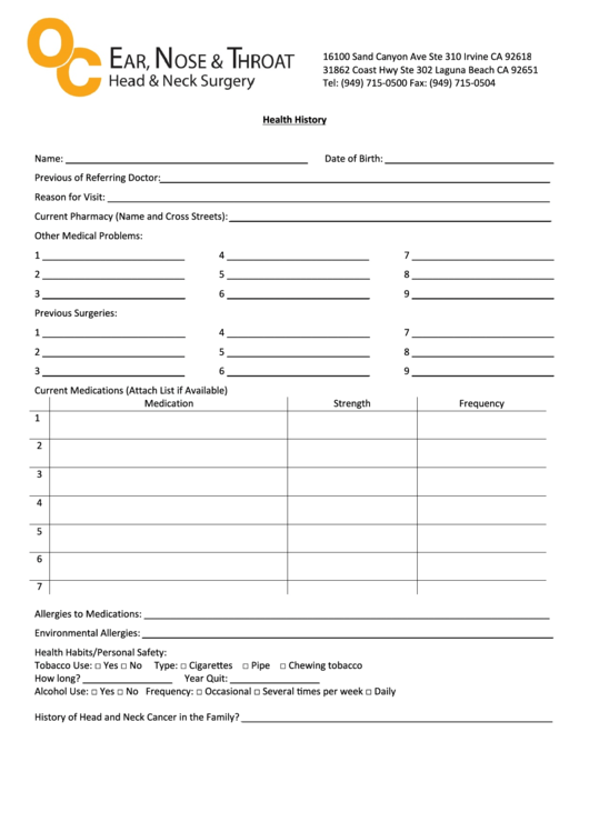 Health History Template Printable pdf