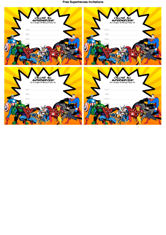 Calling All Superheroes For A Super Birthday Party Invitation Template Printable pdf