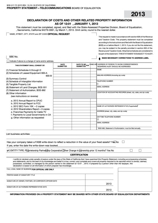 Fillable Form Boe-517-Tc - Property Statement - Telecommunications - 2013 Printable pdf